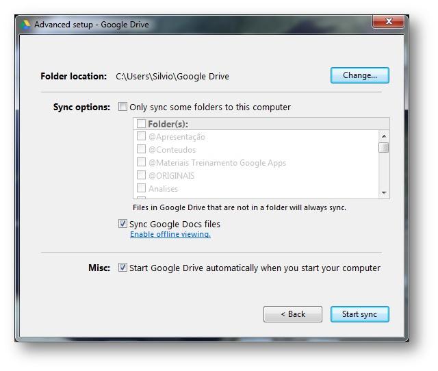 Armazenar arquivos no Google Drive