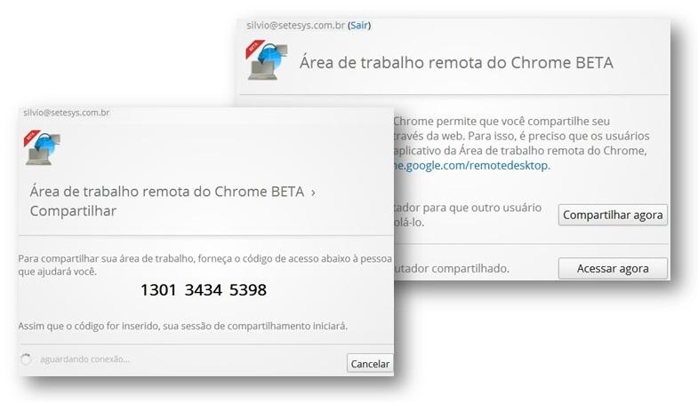 Telas de consentimento de acesso ao computador com o Chrome Remote Desktop