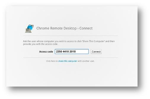 Tela de entrada do código de acesso do Chrome Remote Desktop