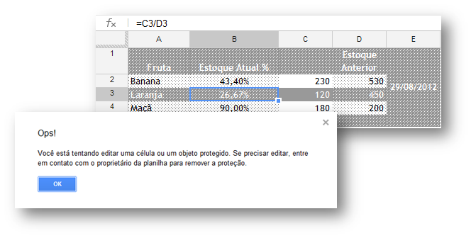Protegendo células no Google Spreadsheet