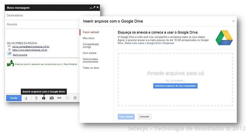 Limite de anexos do Gmail foi ampliado de 25Mb para 10 Gb com a integração ao Google Drive