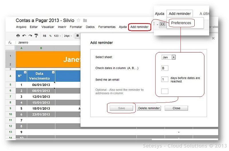 Adicionando a Planilhas de Constas a Pagar a funcionalidade de alertas baseado em datas que estão por vencer.