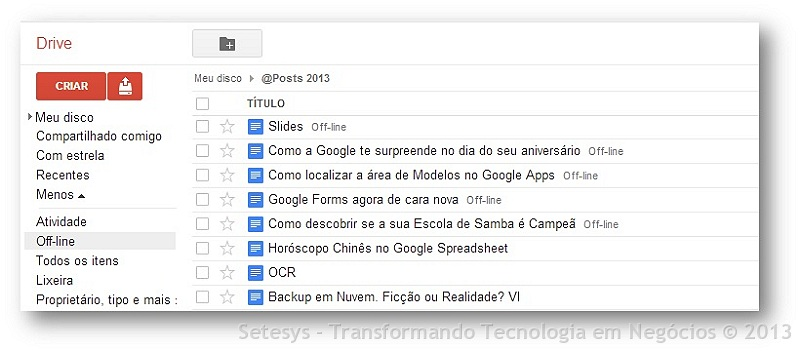 Habilitando seu Editor de Apresentação do Google Apps agora denominado Google Slides para acesso Offline