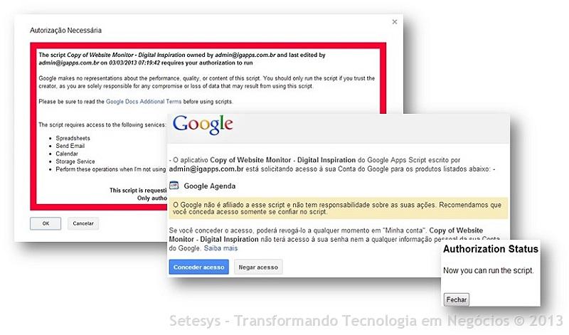 Script do Google Apps que monitora se um Site ou blog está no ar ou não enviando alertas por E-Mail e SMS.