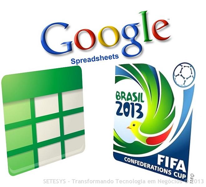 Tela de Abertura Google Spreadsheet na Copa das Confederações FIFA