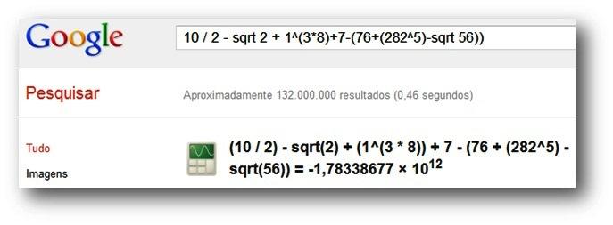 Calculadora cientifica disponível no Google Chrome