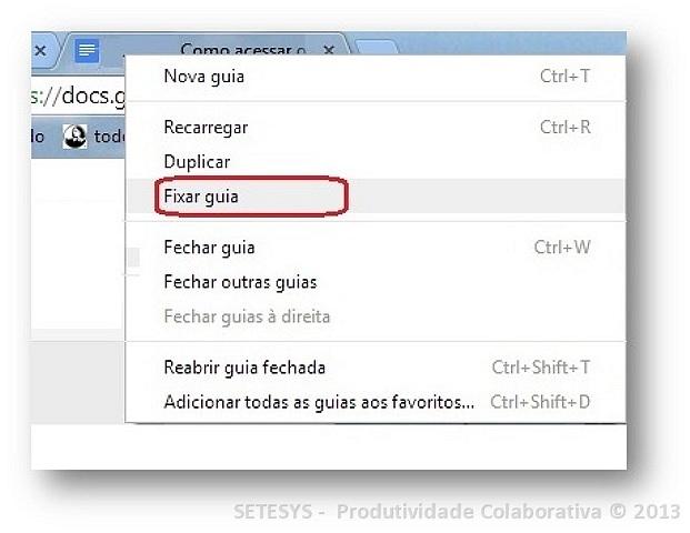 Tutorial abordando o processo de organização de Guias no Google Chrome.