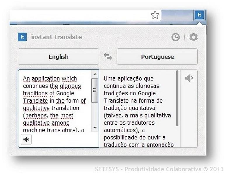 Artigo sobre como Traduzir no Google Chrome utilizando a extensão Instant Translate