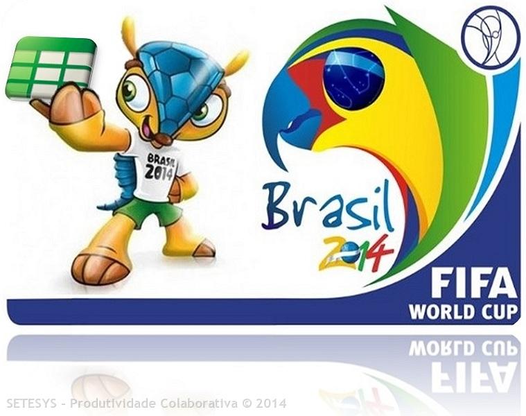 Google Spreadsheet com a Tabela  dos Jogos da Copa do Mundo 2014